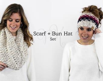 Messy Bun Hat Cowl Set Knit, Ponytail Hat Set, Matching Hat Scarf