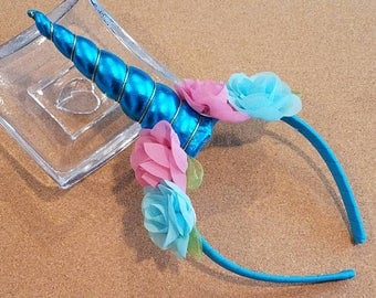 Unicorn Horn Headband - Bright Blue horn with blue and pink flowers - RTS