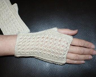 Fingerless gloves women's mid-length, champagne Egyptian cotton