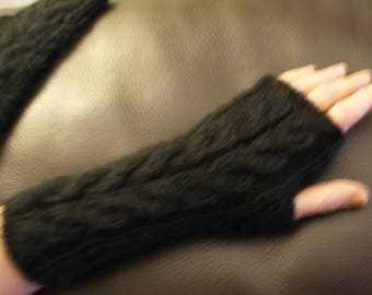 100% black mohair fingerless mittens
