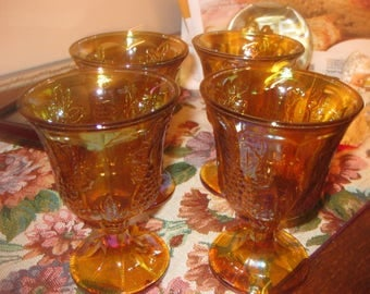Vtg paneled grape Indiana Glass set of 4 goblets carnvial glass iridescent amber gorgeous 8 oz goblets