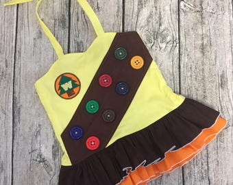 Disney Inspired appliqued embellished bodice sweetheart double ruffle peplum top featuring wilderness explorer russell from UP sizes 6m - 16