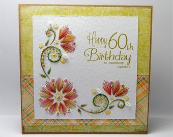 Handmade Stitched Birthday Card - 60th / 65th to someone special