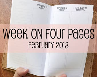 Traveler's Notebook PERSONAL Size Week on Four Pages {February 2018} #700-52