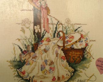 Pink ribbon paula Vaughan's counted cross stitch kit