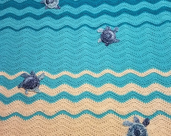 Crochet sea turtle throw