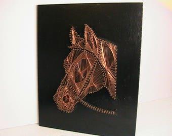 Horse Art, Copper Wire Art, Horse Head Wire Art, Vintage Equine Art, Copper Brass Nails Wire Art