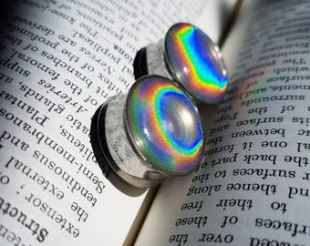 Pair of holographic silver glitter plugs! Available in 8mm and up