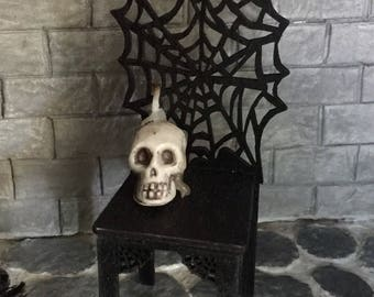 Black Spider Web Chair For a One Inch Scale Haunted Dollhouse
