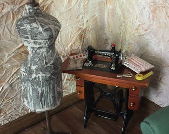 Antique Style Dress Form is Covered with Old Miniaturized Newspaper Pieces which had been Aged for Your Dollhouse Attic, or Sewing Shop