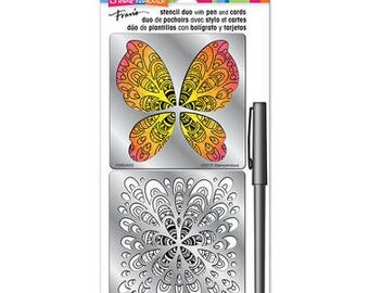 Stampendous Stencil DUO kit set - BUTTERFLY DUO butterfly stencils FMSD102 cc02