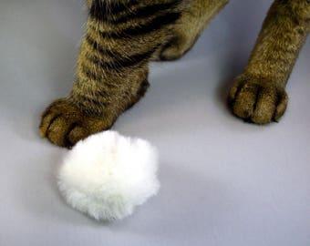 Cat Fetch Toy, Catnip Toy, Cat Chase Toy, Organic Catnip or Catnip Silvervine Mix, Natural Sheepskin Biscuit