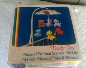 Vintage Musical Animal Crib Mobile, by Dolly Toy, Baby Musical Mobile, Vintage Crib Mobile, Animal Mobile