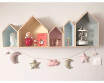 Guirlande Étoile - Lune - Nuage à paillettes pour les filles (au choix) - Une étoile dans ma cabane