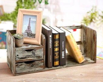 Distressed Torched Wood Desktop Bookshelf Organizer with 2 Storage Drawers