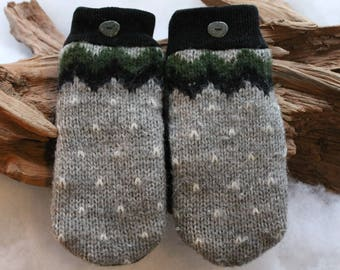 Wool sweater mittens lined in fleece with Lake Superior rock buttons in gray, black, green, and white, Christmas, winter wedding, birthday