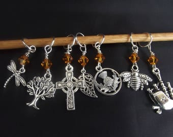 Outlander Inspired Knitting Stitch Markers (9) nine Markers