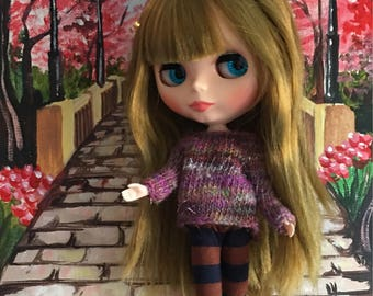 Sweater to fit Blythe Neo Dolls. Handmade, knitted with handspun merino yarn!