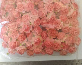 100 Wholesale Old Rose Two Tone Color  Mulberry Roses Paper  Flowers 18mm or 0.6 inch Mini Size Embellishment Scrapbooking