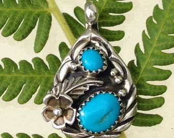 Turquoise Pendant Sterling Silver Rita Dawes Designer Jewelry Natural Turquoise Vintage