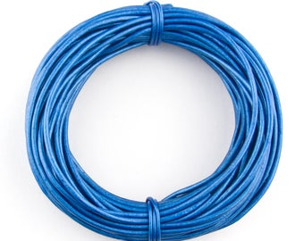 Blue Metallic Round Leather Cord 2mm 100 meters (109 yards)