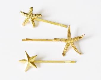 Set of 3 Gold Plated Star Nautical Bobby Pin Mermaid Hair Clip Accessories - Beach Hair - Mermaid Hair - Cute Hair Pin - Hair Accessories