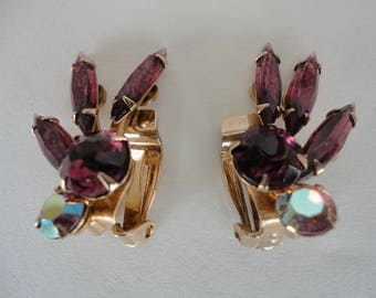 Purple Rhinestone Clip On Earrings