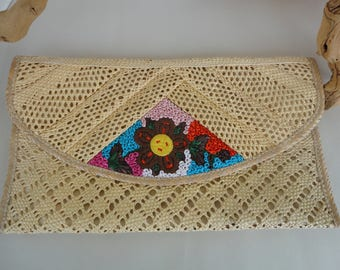 Straw Clutch With Embroidery