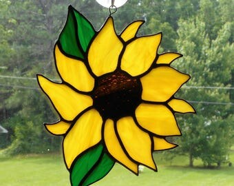Stained Glass Sunflower Suncatcher (#1) - Handcrafted in Tennessee