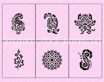 Henna cookie stencils set of 6 designs  SL2021