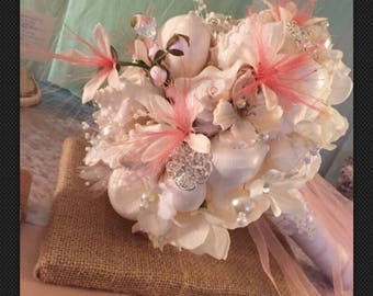 Xo bouquet brooch seashell ready to ship bouquet