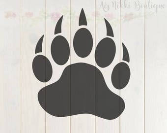 Bear paw SVG, PNG, DXF files, instant download