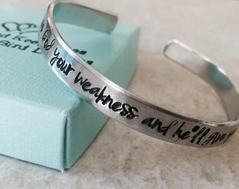 Sale custom cuff bracelet give God your weakness and he will give you his strength monogrammed bible verse personalized cuff bracelet