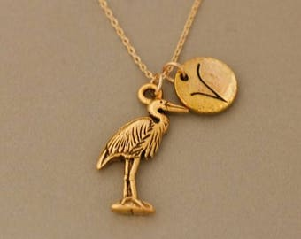 Cute gold Heron necklace -  personalized infinity necklace -  friendship jewelry - Monogrammed Necklace