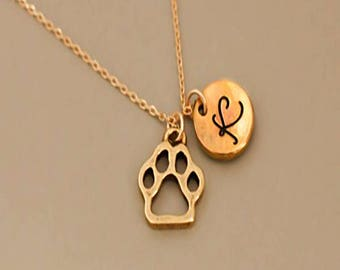 Dog paw necklace for dog lover gift.