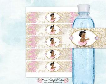 Water Bottle Labels African American Princess Ballerina Tutu Glamour Girl Pink & Gold | Digital Instant Download