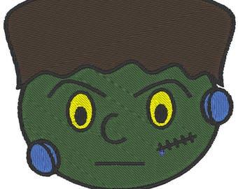 Frankentstein Head Halloween Machine Embroidery Design 4x4 and 5x7 Instant Download Lindas Hemstitching