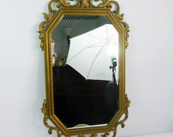 Vintage Mid Century Wall Mirror Large Gold Syroco Ornate Octagonal Oblong Mirror Dated 1963 Tall Rectangular Hollywood Regency Wall Hanging