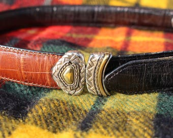 Reversible brown and black leather belt