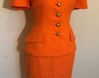 Vintage Christian Dior 2pc Skirt Suit/Logo Button/ Orange Boutique Outfit/Pencil Skirt and Jacket/Ladie's Summer Suit/ Made in USA