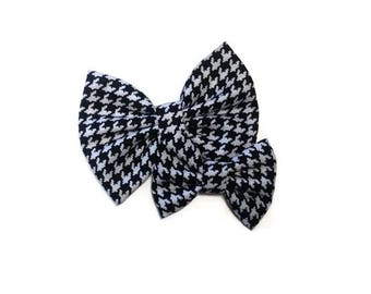 Houndstooth Bow | Fabric Bow | Handmade Hair Bow | Hair Clip | Headband