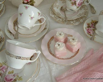 Very Pretty Vintage Pink and Roses Tea Set for 6 with a Sadler Teapot Perfect China for a Special Tea Party
