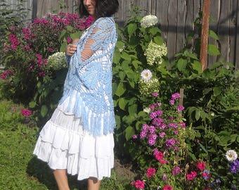 Womens Crochet Blue Shawl - Knitted  Handmade Accessory