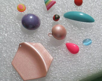 Lot Of Colorful Single Odd Earrings No Backs Plus Blue Glass Cabochon
