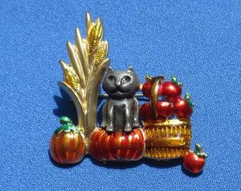Vintage Halloween Cat Pumpkin Apples Enameled Brooch