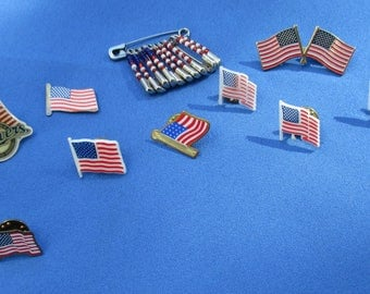 Lot Of American Flag Lapel Pins Beaded Safety Pins
