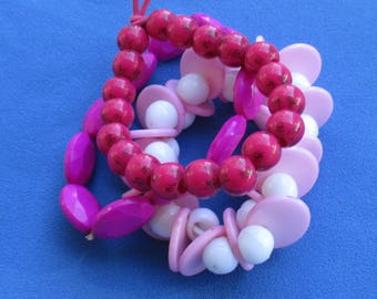 Lot Of Retro Pink Fuchsia Colored Plastic Beaded Stretch Bracelets Restring Repurpose