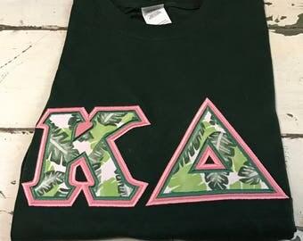 Tropical Print Sorority Letter Shirt Kappa Delta