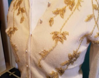 Embroidered Vintage Cream and Gold Sweater