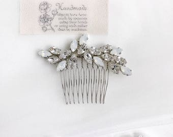 Swarovski Bridal Hair Comb -White Opal - Clear Crystal Statement Hair Comb for weddings, bridal, proms. Style #012